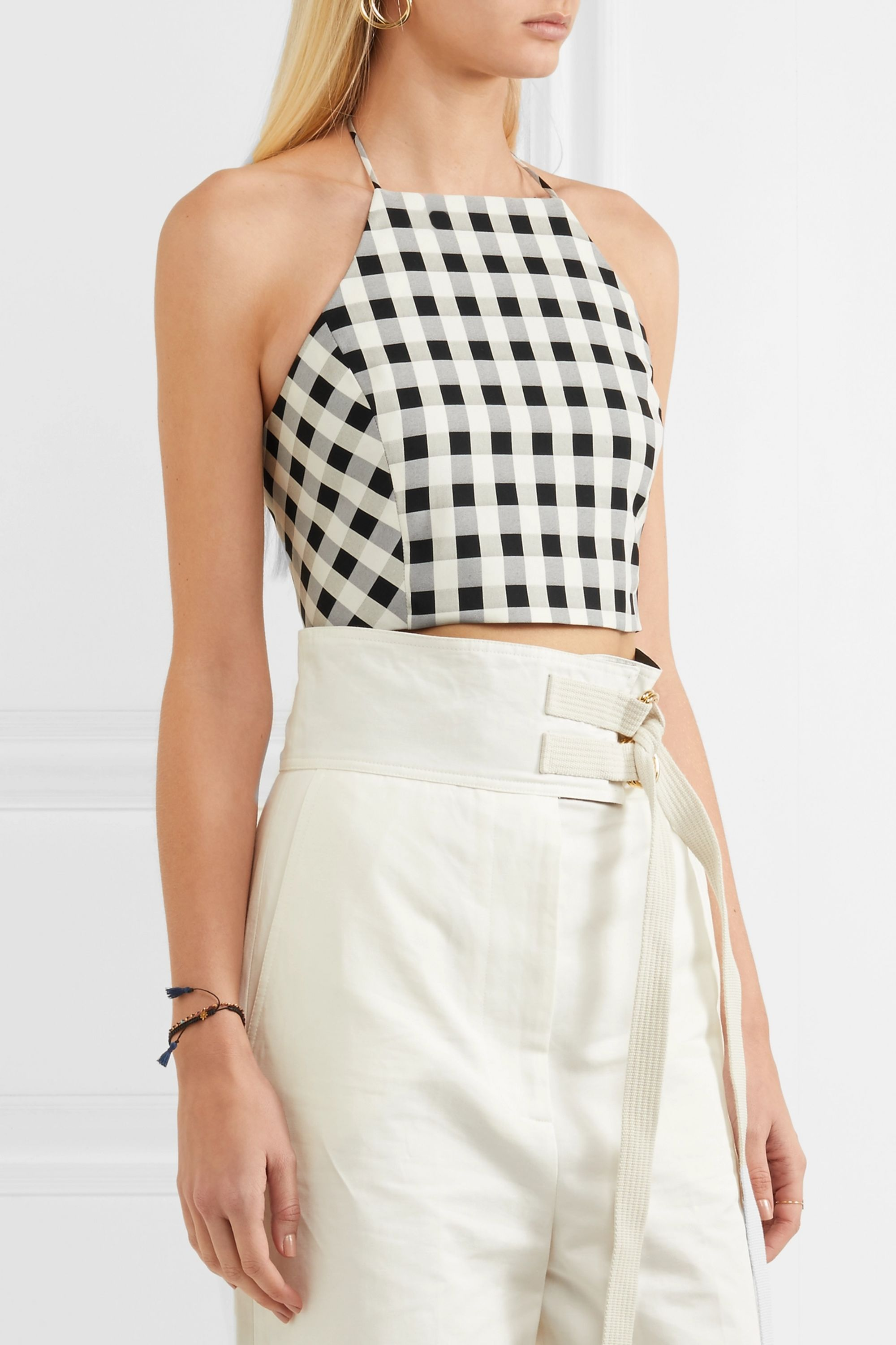 rag & bone Nevada cropped gingham cotton-blend halterneck top
