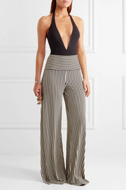 Norma Kamali Striped stretch-jersey wide-leg pants