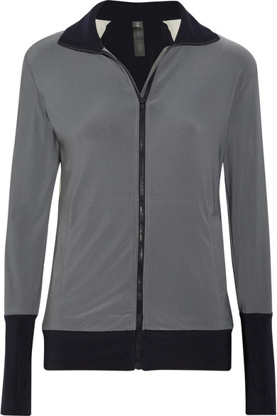 Norma Kamali - Color-block Stretch-jersey Jacket - Dark gray