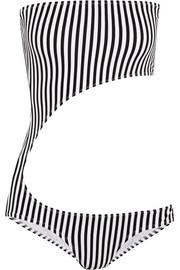 Norma Kamali Striped cutout bandeau swimsuit