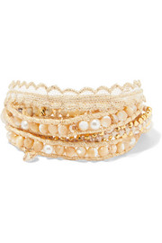 Chan Luu Gold-plated multi-stone wrap bracelet