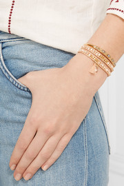 Chan Luu Gold-plated, mother-of-pearl and crystal wrap bracelet