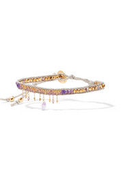 Chan Luu Gold-plated, amethyst and beaded bracelet