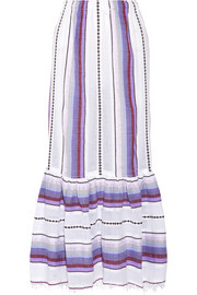 Adia convertible striped cotton-blend gauze skirt