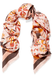 Printed silk and wool-blend jacquard scarf