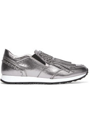 Tod's Embellished fringed metallic leather slip-on sneakers