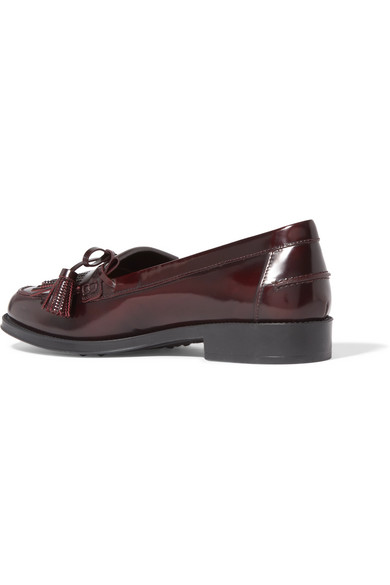 Fringed Glossed-leather Loafers - Burgundy Tod's 7Lviv8k0F