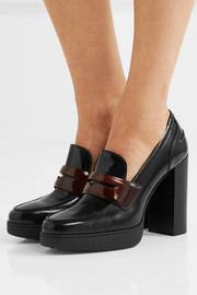 Tod's Two-tone glossed-leather pumps