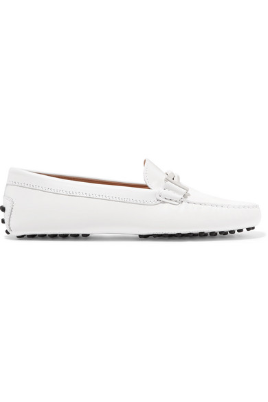 Gommino Embellished Croc-Effect Leather Loafers, White