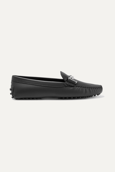 Tod's - Gommino Embellished Leather Loafers - Black