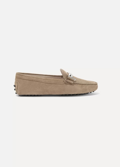 Tod's - Gommino Embellished Suede Loafers - Beige