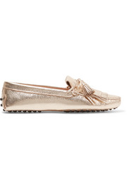 Tod's Gommino fringed metallic textured-leather loafers