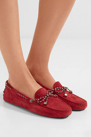 Tod's Gommino leather-trimmed suede loafers