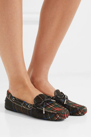 Tod's Leather-trimmed tartan calf hair moccasins