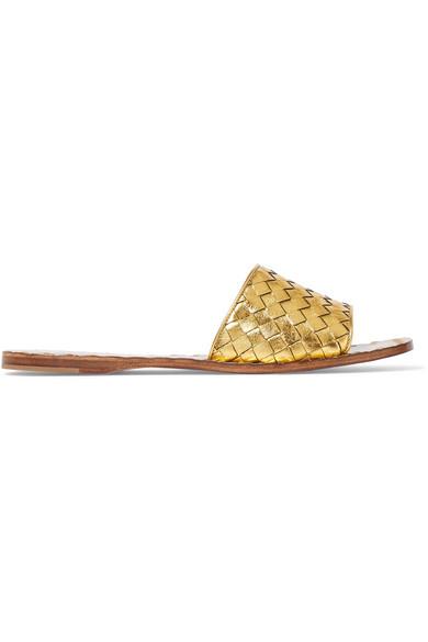 Bottega Veneta aus | Pantoletten aus Veneta Intrecciato-Leder in Metallic-Optik 591df4