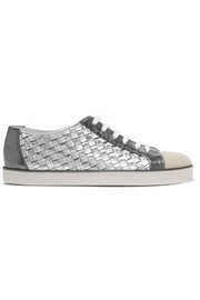 Bottega Veneta Suede-trimmed metallic textured and intrecciato leather sneakers
