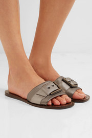 Bottega Veneta Buckled metallic textured-leather slides
