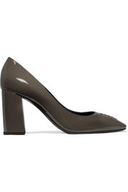 Intrecciato patent-leather pumps