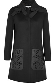 Fendi Leather-paneled wool-felt coat