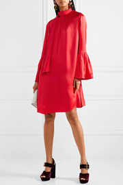 Fendi Pleated washed-satin mini dress
