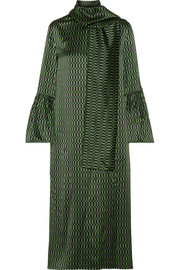 Fendi Chiffon-trimmed printed silk-satin midi dress