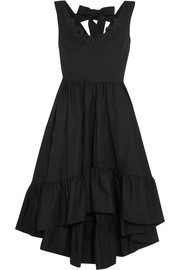 Appliquéd cotton-taffeta midi dress