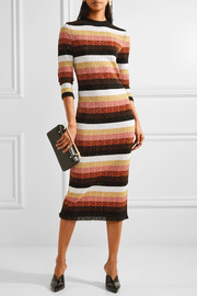 Fendi Striped metallic wool-blend midi dress