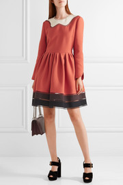 Fendi Cutout color-block wool and silk-blend mini dress