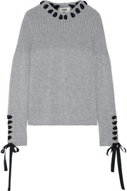 Fendi Grosgrain-trimmed lace-up cashmere sweater