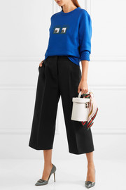 Fendi Cropped wool and silk-blend crepe wide-leg pants