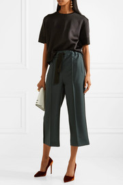 Fendi Cropped mohair and wool-blend wide-leg pants