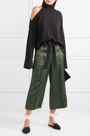 Fendi Printed silk-satin wide-leg pants