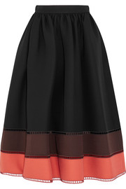 Fendi Color-block wool and silk-blend gazar midi skirt