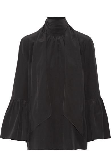 Fendi - Pussy-bow Silk Crepe De Chine Blouse - Black