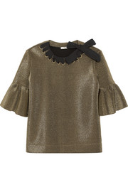 Fendi Grosgrain-trimmed metallic scuba top