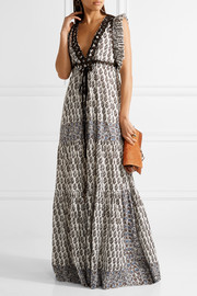 Tory Burch Amita appliquéd printed cotton maxi dress