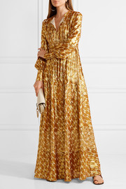 Tory Burch Bea metallic silk-blend jacquard gown