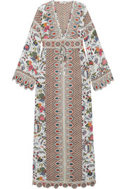 Rosemary printed silk crepe de chine and jacquard dress