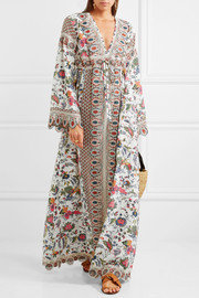 Tory Burch Rosemary printed silk crepe de chine and jacquard dress