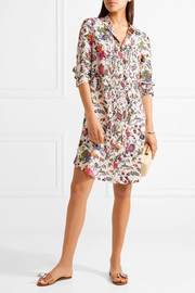 Tory Burch Cora pintucked printed silk crepe de chine mini dress