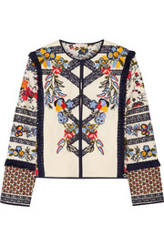 Tory Burch Amber embroidered printed canvas jacket