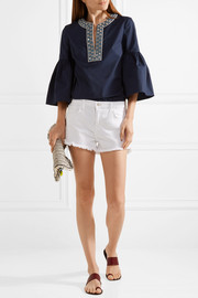 Tory Burch Arianna embellished stretch-cotton poplin blouse