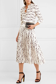 Tory Burch Hailee pleated printed silk crepe de chine midi skirt