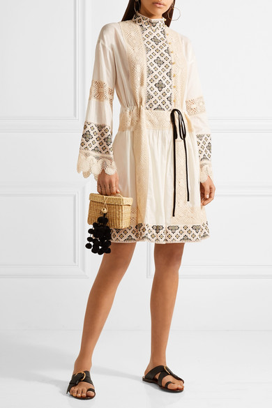 Tory Burch. Carlotta lace-trimmed embroidered cotton-voile mini dress