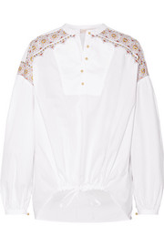 Tory Burch Jayne embroidered cotton-poplin blouse