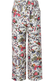 Tory Burch Gabriella cropped printed silk-satin wide-leg pants