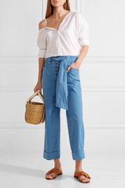 Tory Burch Robin pinstriped cotton-blend seersucker culottes