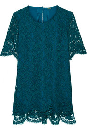Adam Lippes Corded cotton-blend lace top