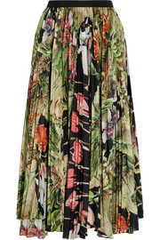 Adam Lippes Pleated printed cotton-voile midi skirt