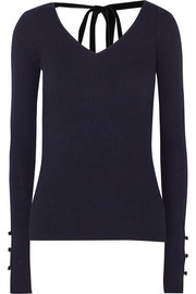 Adam Lippes Velvet-trimmed ribbed merino wool sweater